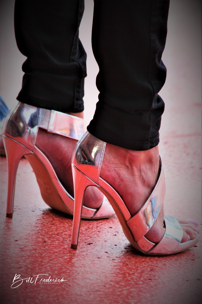 a heels with sign