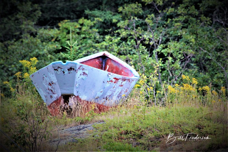 beached rowboat with sign
